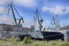 Bankrupt shipyard in Gdansk Royalty Free Stock Images