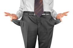Bankrupt showing empty pockets. Bankrupt business man showing empty pockets  hands Stock Images