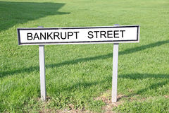 Bankrupt street road sign Stock Image