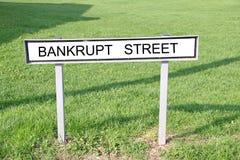 Bankrupt street road sign Stock Image