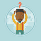 Bankrupt unaware what to do with financial crisis. An african-american bankrupt with question mark above his head. Bankrupt clutching his head. Concept of Stock Image