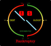 Bankruptcy. Abstract illustration suggesting big debt and low budget causing bankruptcy stock illustration