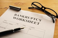 Bankruptcy. Worksheet form or document showing business concept Royalty Free Stock Photography
