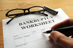 Bankruptcy. Worksheet form or document showing business concept Stock Photos