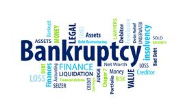 Bankruptcy Word Cloud. On a Blue Background vector illustration