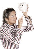 Bankruptcy. Cashing out- female depletes what little she has left in her savings, Isolated on white Stock Photos