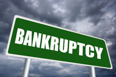 Bankruptcy. Illustrated sign on grey sky vector illustration