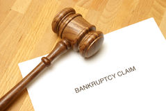 Bankruptcy. Forms and a gavel to represent this monetary concept Stock Photography