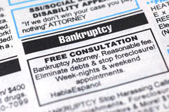 Bankruptcy Ad. Closeup shot of a bankruptcy ad Royalty Free Stock Images