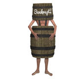 Bankruptcy Bankrupt Man Wearing A Barrel Illustration. A man wearing a barrel and a bucket with the word bankrupt over his head. Apparently, he has lost all his Stock Images