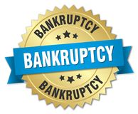 Bankruptcy. Gold badge with blue ribbon stock illustration