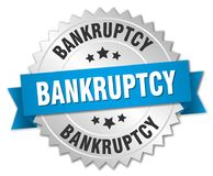 Bankruptcy. Silver badge with blue ribbon stock illustration