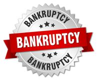 Bankruptcy. Silver badge with red ribbon royalty free illustration