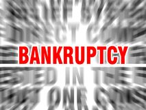 Bankruptcy. Blurred text with focus on royalty free illustration