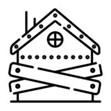 Bankruptcy - boarded-up house icon, vector illustration royalty free illustration