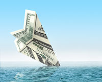 Bankruptcy business. Money plane wreck Royalty Free Stock Images