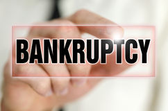 Bankruptcy. Button on virtual screen Royalty Free Stock Images
