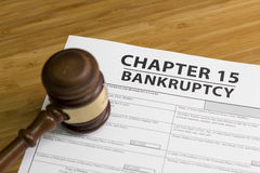 Bankruptcy Chapter 15. Documents for filing bankruptcy Chapter 15 royalty free stock photo