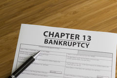 Bankruptcy Chapter 13. Documents for filing bankruptcy Chapter 13 royalty free stock photography