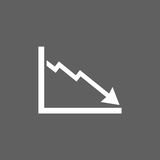Bankruptcy chart icon. On dark background Royalty Free Stock Image