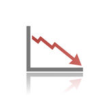Bankruptcy chart icon. With shade on grey background Royalty Free Stock Photography