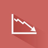 Bankruptcy chart icon. With shade on red background Stock Images