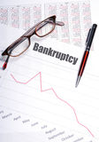 Bankruptcy. Chart with sales decline Royalty Free Stock Image