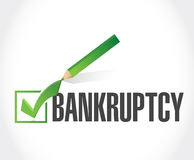 Bankruptcy check mark selection illustration Stock Photo