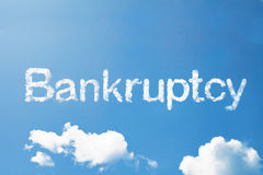 Bankruptcy cloud word on sky Royalty Free Stock Image