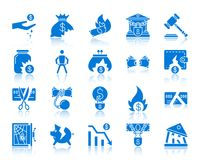 Bankruptcy color silhouette icons vector set. Bankruptcy silhouette icons set. Web sign kit of business. Crisis monochrome pictogram collection includes poverty Stock Image