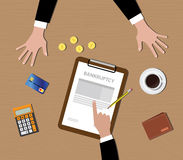 Bankruptcy concept clipboard gold coin coffee credit card Royalty Free Stock Photography