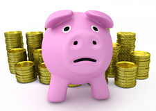 Bankruptcy concept - sad piggy bank with golden coins Stock Photos