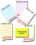 Bankruptcy - Consumer Debt. Bills Past Due Stock Photo