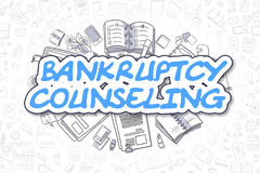 Bankruptcy Counseling - Doodle Blue Word. Business Concept. Bankruptcy Counseling - Hand Drawn Business Illustration with Business Doodles. Blue Inscription Stock Photos