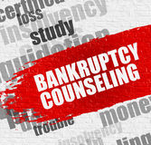 Bankruptcy Counseling on the White Brickwall. Business Education Concept: Bankruptcy Counseling - on the White Wall with Word Cloud Around. Modern Illustration Royalty Free Stock Photos
