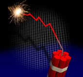 Bankruptcy countdown. Downward trend leading to dynamite explosion Royalty Free Stock Photography