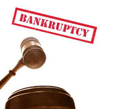 Bankruptcy court. Judges court gavel with bankruptcy text, on white Stock Image