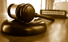 Bankruptcy court gavel. Judge's legal gavel in front of Bankruptcy Court nameplate Stock Image