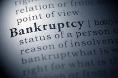 Bankruptcy. Dictionary definition of the word Bankruptcy Stock Photography