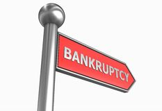 Bankruptcy direction. Red bankruptcy signpost isolated on white vector illustration