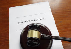 Bankruptcy document and gavel Royalty Free Stock Photo