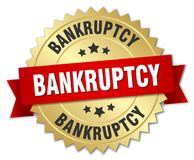 Bankruptcy. Gold badge with red ribbon stock illustration