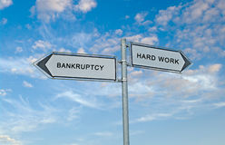 Bankruptcy and hard work Royalty Free Stock Image