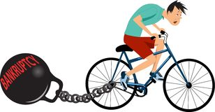 Bankruptcy is holding you back. Exhausted man on a bicycle dragging a huge weight with the word bankruptcy behind. Vector illustration royalty free illustration