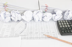 Bankruptcy of house have paper ball with paperwork as background Royalty Free Stock Photos