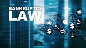 Bankruptcy law concept. Insolvency law. Judicial decision lawyer business concept. Mixed media financial background. Bankruptcy law concept. Insolvency law stock illustration