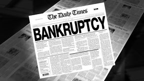 Bankruptcy - Newspaper Headline (Intro + Loops) stock video