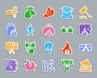 Bankruptcy patch sticker icons vector set. Bankruptcy silhouette sticker icons set. Web sign kit of business. Crisis pictogram collection includes debt, court Royalty Free Stock Images
