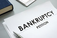 Bankruptcy Petition and pen. In an office stock image
