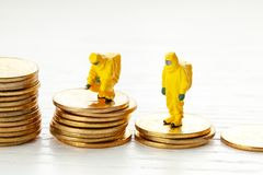 Bankruptcy. Reduced return on investment. Analysts investigate the loss of money. stock images